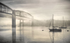 Fade to Grey (suerowlands2013) Tags: morningmist boats royalalbertbridge rivertamar saltashreflectionsgreycornwallgateway cornwall a38
