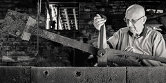 The Forgemaster (S.R.Murphy) Tags: july2017 wortley wortleytopforge forge industry iron machinery forgemaster tools bw monochrome blackandwhite fujifilmxt2 environmentalportrait portrait man people 1x2crop thurgoland yorkshire england