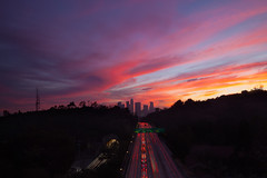 lanes (Andy Kennelly) Tags: los angeles city sunset downtown colorful freeway traffic