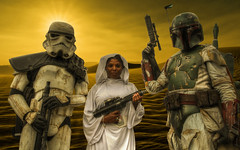 Star Wars Composite (Lee Nichols) Tags: highdynamicrange hdr handheldhdr photomatix photoshop tonemapping tonemapped cosplayers canoneos600d cosplay composite starwars princessleia bobafett stormtrooper
