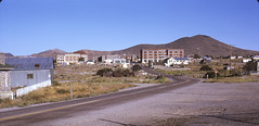 Entering Goldfield, Nevada from the North - 1971 (tonopah06) Tags: goldfield nevada nv 1971 ghosttown miningcamp goldcamp kodachrome rescan us95 highway95 highway panorama esmeralda downtown goldfieldhotel