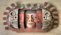 The 3 Facial Stages of Mayan (David K. Edwards) Tags: young old dead stages ceramic pottery painted mexico mexican hanging sculpture decoration