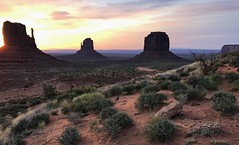 Peace in the Valley (mpalmer934) Tags: arizona monument valley navajo tribal park desert peace tranquility wild west landscape scenery sunset sky buttes mesas green orange red stones shrubs beauty hiking outdoors