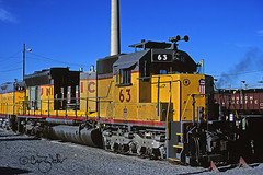 UP 63 - Salt Lake City UT - 06/26/82 (RockAndRail) Tags: unionpacific up 3613 built468 sd45 sulzer saltlakecity slc ut utah railroad locomotive train yard mk morrisonknudsen