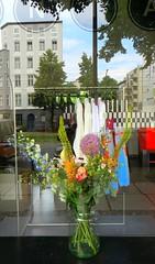 Le motif à fleurs pour un été fleuri du gentleman moderne (Robert Saucier) Tags: berlin vitre vitrine reflet reflection fleurs flowers glass cristal building arbre tree pot vase img2141