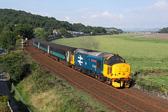 37401 Grange over sands 22nd July 2017 (John Eyres) Tags: 37401 mary queen scots leaving grange over sands with 2c31 1731 lancaster barrowinfurness 220717