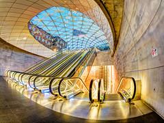 Escalators (Karsten Gieselmann) Tags: 8mmf18 architektur blau braun em5markii europa exposurefusion gold mzuiko malmo malmö microfourthirds olympus photomatix reise rolltreppe schweden stadt sweden triangeln architecture blue brown city escalator golden kgiesel m43 mft travel skånelän se