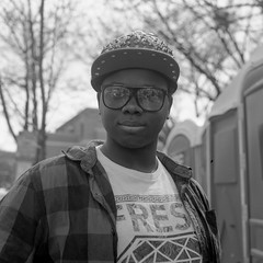 (patrickjoust) Tags: 6x6 medium format 120 tlr twin lens reflex black white bw home develop discontinued expired kodak film blancetnoir blancoynegro schwarzundweiss manual focus analog mechanical patrick joust patrickjoust east baltimore maryland md usa us united states north america estados unidos urban street city spike hat glasses portrait person