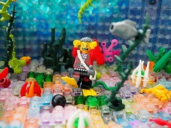 An Unsuccessful Treasure Quest (Robert4168/Garmadon) Tags: lego plants vegetation water sharks cannonball octupi eslandola highwayman fish pirates scene alllego colors lime green red sand orange lavender dark blue pink purple underwater