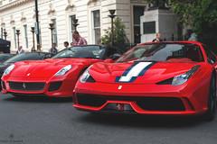 Ahhhhh (Beyond Speed) Tags: ferrari 599 gto 458 speciale aperta specialea 458speciale supercar supercars car cars carspotting nikon v12 v8 red combo london waterloo place ferrari70 automotive automobili auto