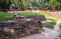 Abstraerse en la lectura (Nebelkuss) Tags: india uttarpradesh sarnath ruinas ruins ruinasyyacimientos lectura reading asia fujixt1 fujinonxf23f14