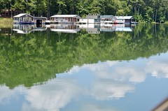 Reflections  in the lake (I'magrandma) Tags: allatoonalake georgia lake houseboats reflections boating ripples sky clouds