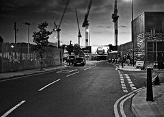 Hackney Wick (I M Roberts) Tags: hackneywick streetscene urbansetting twilight nightscene eastlondon towerhamlets cranes emptylondon fujix100s bw