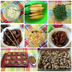 Family Dinner (genesee_metcalfs) Tags: collage food dinner coleslaw corn beans chickenwings potatosalad cobbler muffins