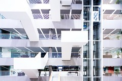 White (Maerten Prins) Tags: denmark denemarken arhus modern architecture new windows glass lines edges square white balcony balconies blue roof stairs stair elevator wideangle navitas aarhus university engineer incuba kjaerrichterarchitectsandchristensenco