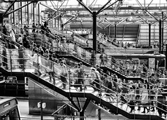 Busy Station Stairs (Andrew Brammall Photography) Tags: station stairs rushhour commute commuters busy workingday people leeds train passengers street walking lines