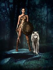 Night Warrior (clabudak) Tags: forest night warrior princess sword shield female white wolf