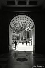 Entrada - Salida / Enter -Exit (Joan Fernàndez) Tags: montserrat monasterio blancoynegro bw people gente street door puerta entrada salida exit barcelona nikon