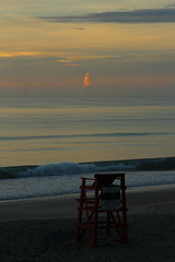 CHAIR IN THE MORNING (R. D. SMITH) Tags: dawn beach chair water sun sand atlanticocean cloud canoneos7d morning