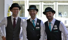 2017-06-10: Three Bowlers (psyxjaw) Tags: london londonist nocturne bike race cycling cycle event city cityoflondon racing bowler hat bowlerhat waistcoat