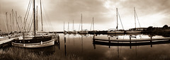 Explore, dream, discover (*mirt) Tags: panorama denmark landscape sepia boats port harbour thursdaysepiaorblackandwhite 7dwf