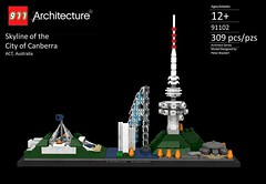 Architecture - Canberra, Australia Skyline (lego911) Tags: lego landmark architecture rebrick competition ldd render cad povray lego911 buildings canberra australia act telstra tower shine dome captain cook memorial jet carillon new parliament house black mountain academy science aspen island water fountain walter burley griffin lake