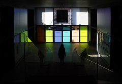 (cherco) Tags: woman window walker cristal crystal reflexions escaleras stairs composition composicion canon colour chica city ciudad gate salida exit down reflexion repetition lonely solitario solitary mujer museum bajar color reflejos
