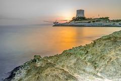 Alba sul Gargano (Luigi Gaudino) Tags: sunset mare torre spiaggia onde roccia rocce gargano vieste peschici scoglio sole porto pesca alba tramonto golden hour rock tower