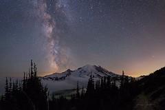 Mount Rainier Nightscape (jeremyjonkman) Tags: mount mountain rainier milky way midnight sky astronomy night nightscape fog galaxy stars