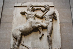 Centaur And Lapith Wrestling From The South Metope (meg21210) Tags: bm lapith centaur wrestling fighting balance balanced classical greek greece ancient art britishmuseum london england uk greatbritain parthenon marbles marble southmetope metope elginmarbles relief architectural