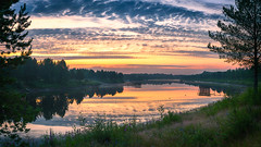 Dawn sky over River Ii (M.T.L Photography) Tags: mikkoleinonencom mtlphotography landscapepanorama riverii ii dawn summer sky sunrise water trees nikond810 colorful copyright serene
