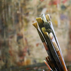 In the Studio (studioferullo) Tags: abstract art beauty bright colorful colourful colors colours contrast dark design detail edge light metal minimalism natural perspective pattern pretty scene serene tranquil study texture tone world arizona jerome studio brush artist paint