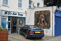 Bad hair day in Penge: London (Loco Steve) Tags: london streetart penge thepriceofeverything irony mapleroad