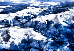 Skyscape II - Clear Skies over the Rockies (Terry Pellmar) Tags: texture digitalart digitalpainting clouds sunset rockies hills