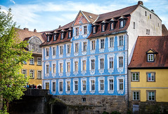 Blue Building near Rathaus (city hall) (mary_hulett) Tags: sammlungludwigimaltenrathaus 2017 building medieval travel museum rivercruise germany viking bamberg tour europe town oldcityhall