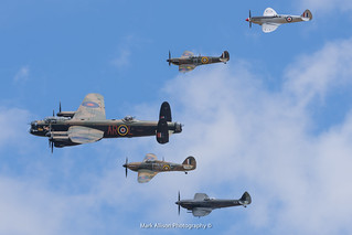 BBMF Lancaster and Fighters 'Thompson Formation'