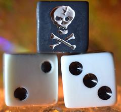 ...high roller...Three MacroMondays (carbumba) Tags: dice white black fun closeup macro skull nikon threemacromondays