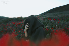 Avaricia // Avarice (Kathy Chareun) Tags: red rojo rouge green verde flowers flores sky cielo field campo ps photoshop avarice avaricia hand mano hood capa death muerte autorretrato selfportrait woman mujer