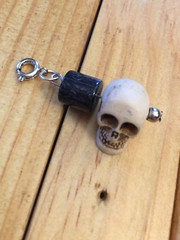 Skull charm with bead (charmedimsuregifts) Tags: skull skeleton halloween goth gothic charm beige