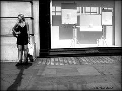 `2050 (roll the dice) Tags: london streetphotography people natural blackandwhite regentstreet fashion shops shopping westminster w1 westend windows glass reflection pretty sexy girl candid portrait stranger sunny hot weather uk art classic urban unaware unknown sale legs canon sad mad surreal funny view cos knees wall blonde