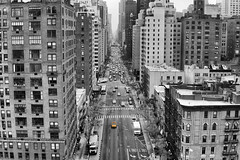 (Claire*Marsh) Tags: rooseveltisland tramway tram nyc newyork usa street road fromabove cars taxis cabs view blackandwhite mono photography aerial angle sonya6000 yellow selective colour
