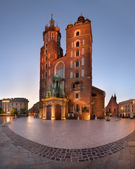 Panorama of Saint Mary Basilica in the Morning, Krakow, Poland (ansharphoto) Tags: architectural architecture basilica blue brick building cathedral catholic chapel church city cityscape cracow dawn europe european facade gothic historic historical history iconic illuminated krakow landmark lights mary medieval monument morning night old pano panorama poland polish religion saint sky skyline square street sunrise tourism tower town travel twilight urban vacation