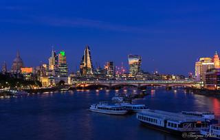 London Skyline at Blue Hour, London, England, United Kingdom