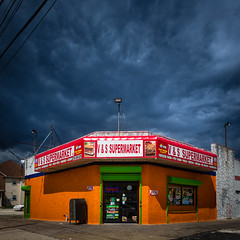 Supermarket (Darren LoPrinzi) Tags: 5d canon5d philadelphia philly urban canon city miii urbanexploration square squareformat colors colorful supermarket market building sign signs signage neonsigns neonsign mailbox clouds cloudscape storm stormy orange green red