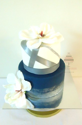 Cream Navy Blue And Silver Wedding Cake A Photo On Flickriver