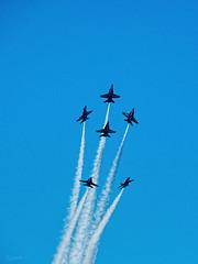 Scatter Drill Blue (Bely Medved) Tags: osh17 1974presentmodern aviation blueangels bomberweek eaa2017 f18hornet fighter militaryaviation saturday ©jrj em1markii olympus