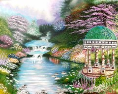 The Garden Gazebo - Painted by Dan Seitzinger in Acrylic (d.m.s. studios) Tags: thomas kinkade study by artist dan seitzinger painting landscape garden flowers artwork art
