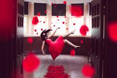 Comfort (GideonAJWay) Tags: red rose petal levitate conceptual idea 52week dress float manipulation photoshop adobe flare model hair