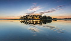 Reflection of Hatchet Pond (Nick L) Tags: hatchet hatchetpond beaulieu hampshire uk england sunset reflection landscape waterscape clouds goldenhour canon5d3 outdoor sky pond newforest ripple
