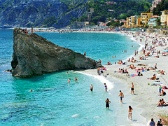 The Beach at Monterosso (Colorado Sands) Tags: beach sea coast monterosso italy sandraleidholdt europe cinqueterre liguria monterossoalmare people sandybeach swimming water